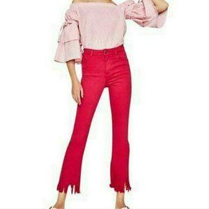NWT Zara denim high waist cropped flare jeans 8